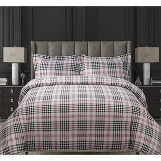 Plaid Luxury 3-piece Printed Flannel Duvet Cover Set