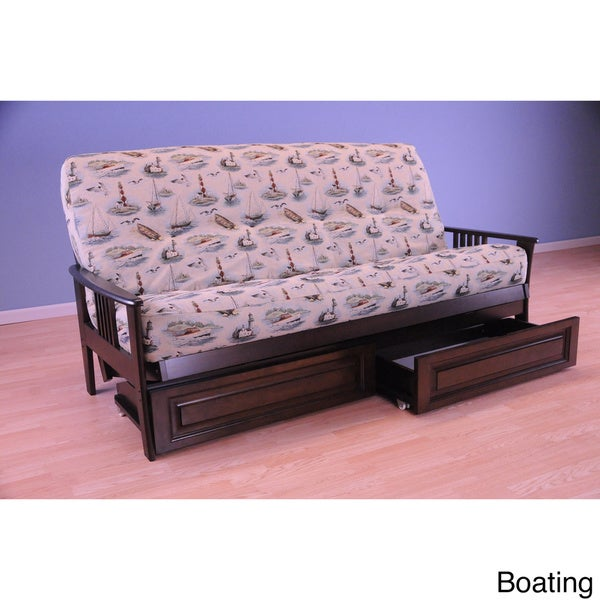 Christopher Knight Home Capri Espresso Futon Frame with Mattress and Storage