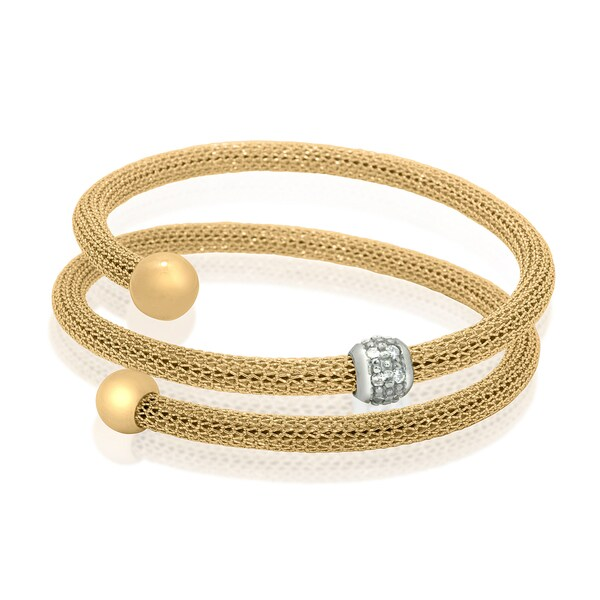 Gioelli Silver Plated Yellow Gold Plated CZ Ball Mesh Wrap Bangle Bracelet
