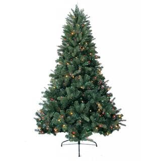 8-foot Prelit Artificial Deerwood Fir Tree with 750 Multi-Colored Lights and Metal Stand