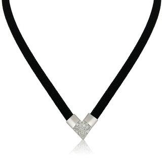 Gioelli Silver Plated Italian CZ Black Mesh Designer Necklace