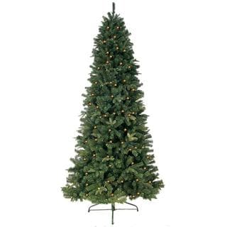 7-foot Prelit Artificial Eastwood Fir Slim Tree with 600 Clear Lights and Metal Stand