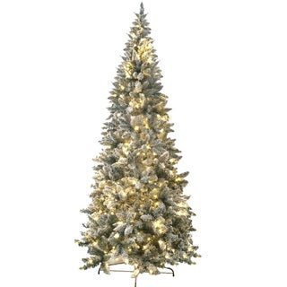 8-foot Prelit Artificial Flocked Magnolia Fir Tree with 450 LED Warm Lights and Metal Stand