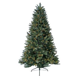 6-foot Prelit Artificial Highland Fir Tree with 300 LED Warm Lights and Metal Stand
