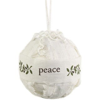 Sage & Co Torn Linen Peace Ball Christmas Ornament (Pack of 6)