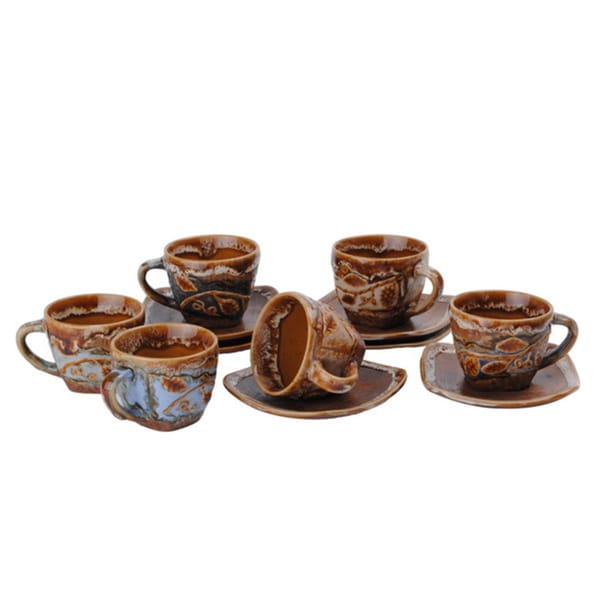 Stoneware Demitasse Espresso/ Turkish Coffee Cups and Saucers (Set of 6)