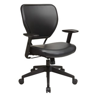 Space 55 Black Air Grid Vinyl Seat Managers Chair with Height Adjustable Arms and Tilt Control
