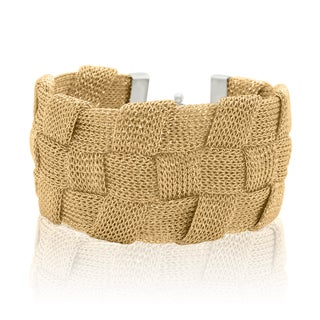 Gioelli Sterling Silver Yellow Gold Plated Italian Braided Mesh Bracelet