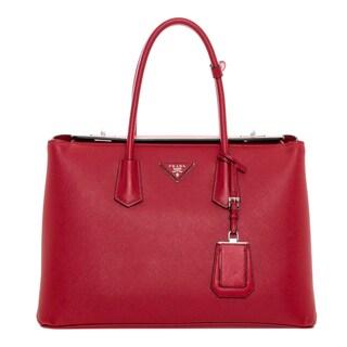 Prada Large City Calf Red Saffiano Leather Turn-Lock Twin Tote Bag