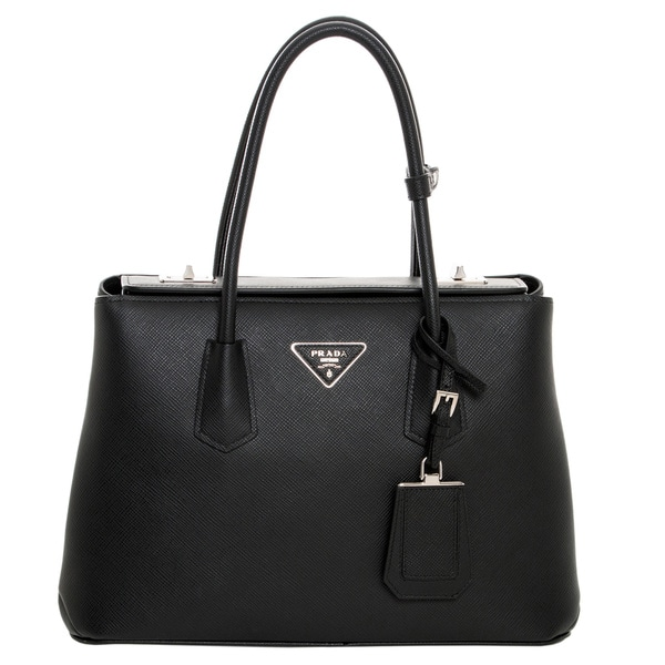 Prada Small Black Saffiano Cuir Leather Tote Bag