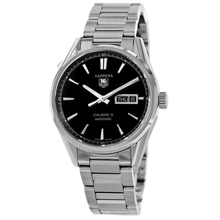 Tag Heuer Men's WAR201A.BA0723 'Carrera' Black Dial Stainless Steel Day Date Watch