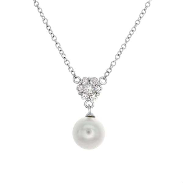 Sterling Essentials Silver Cubic Zirconia and Crystal Pearl Necklace