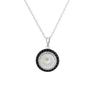 Sterling Essentials Silver Cubic Zirconia and Cultured Pearl Pendant Necklace (9-10 mm)