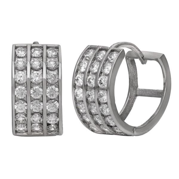 Gioelli Silver Plated 3 Row CZ Hoop Earrings