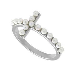 Sterling Essentials Silver Cultured Pearl Sideways Cross Ring (2-3 mm)