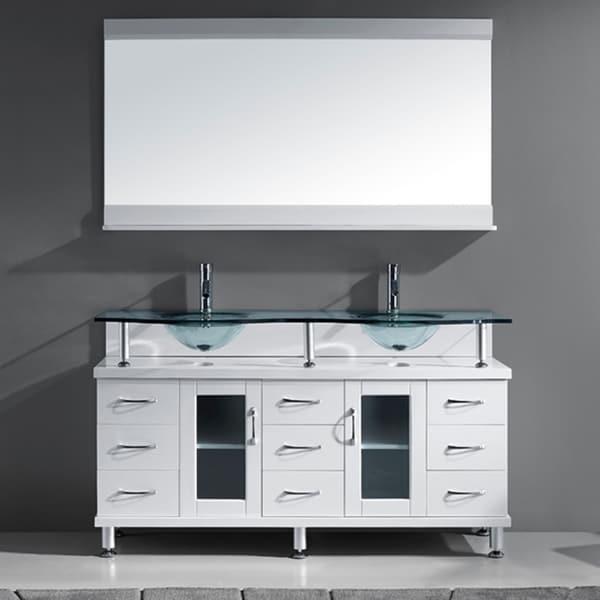 Virtu USA Vincente 59 Inch White Double Sink Bathroom Vanity Set 16782372