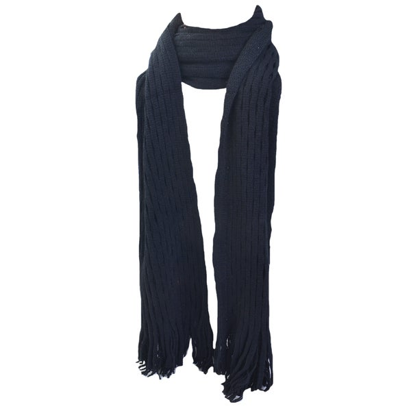 Kate Marie 'Viana' Double Layer Fringe Knit Scarf
