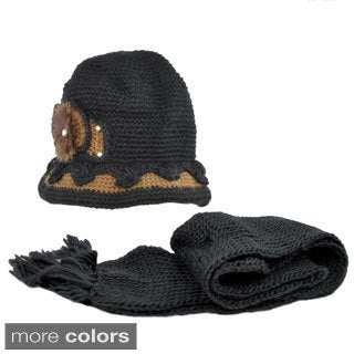 Kate Marie 'Sofia' Contrast Color Knit Beanie and Scarf Set