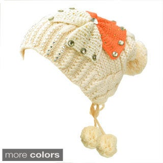 Kate Marie 'Emma' Adjustable Back-tie Pom Pom Beanie Cap