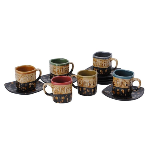 Stoneware Demitasse 'Coffee' Espresso/ Turkish Coffee Cups with Saucers (Set of 6)