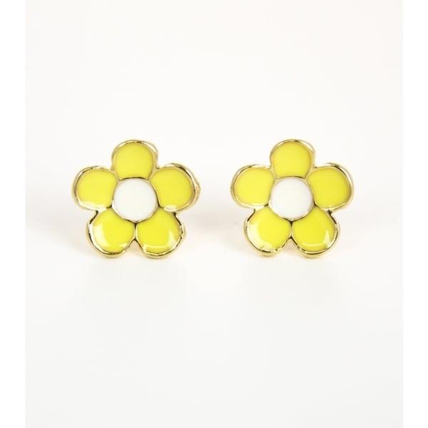 Pretty Little Style Goldtone Yewllo Flower Stud Earrings