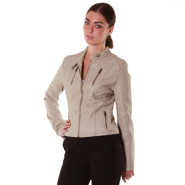 Hadari Women's Beige Leatherette Jacket