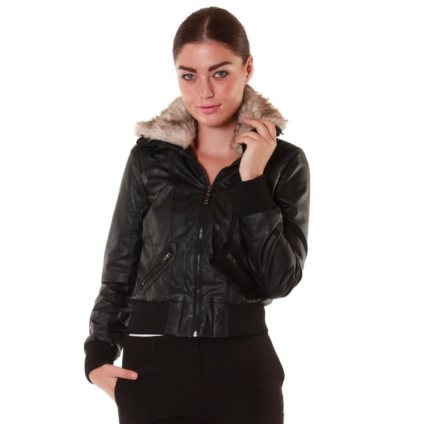 Hadari Women's Black Faux Fur Collared Leatherette Jacket