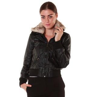 Hadari Women's Black Faux Fur Collared Leatherette Jacket