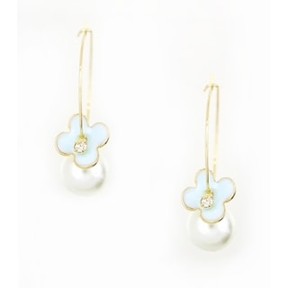 Pretty Little Style Goldtone Light Blue Flower and Pearl Hoop Earrings