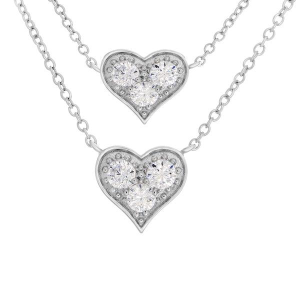Sterling Essentials Silver Cubic Zirconia Heart Necklace and Bracelet Set