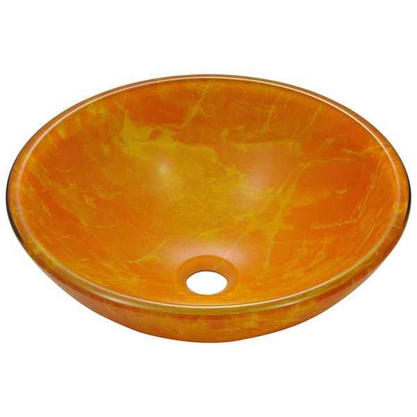MR Direct 605 Yellow/ Orange Double Layer Glass Vessel Sink