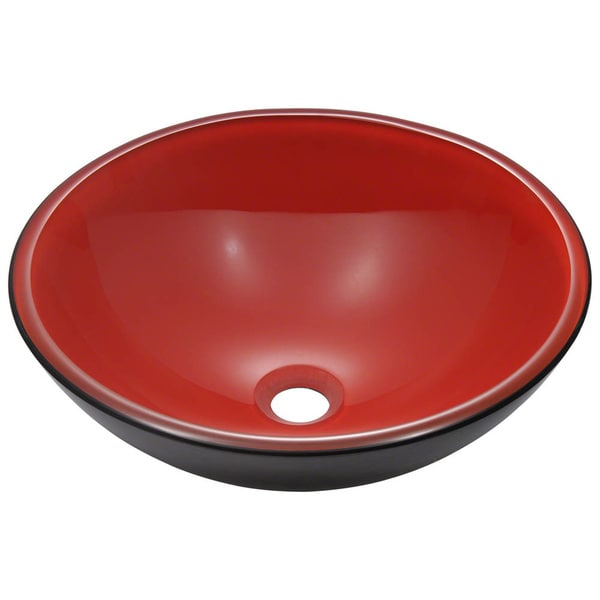 MR Direct 606 Black/ Red Double Layer Glass Vessel Sink
