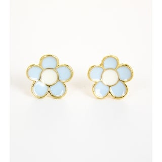 Pretty Little Style Goldtone Light Blue Flower Stud Earrings