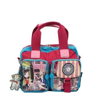 Nicole Lee Cupcake Girl Print Crinkled Nylon Handbag