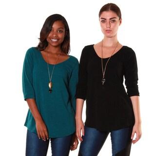 Hadari's Women's Bundle Mid-sleeve Sweater Top (Set of 2)