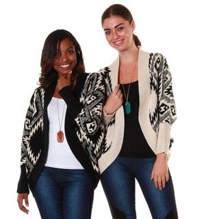 Hadari's Women's Bundle Black, Cream Tribal Geometrical Dolman Cardigan (Set of 2)