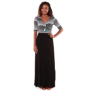 Hadari Women's Black Chevron Bodice Maxi Dress