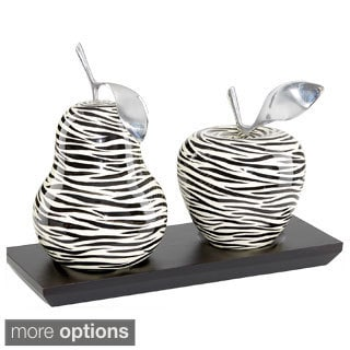 Artesana Zebra Finish Decorative Pear and Apple Sculpture