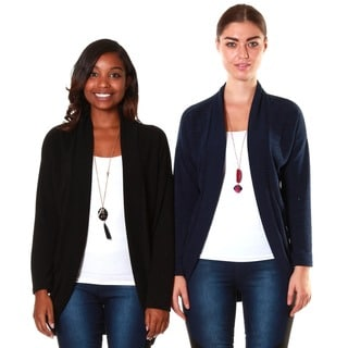 Hadari's Women's Black/Navy Casual Open Cardigan (Set of 2)