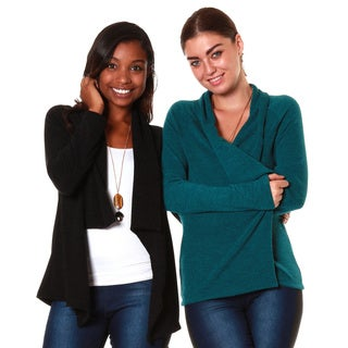 Hadari's Women's Bundle Shawl Collar Cardigan (Set of 2)