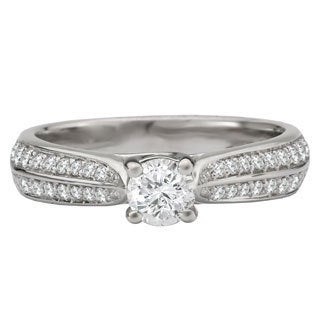 Avanti 14k White Gold 5/8ct TDW Cathedral Round Diamond Engagement Ring (G-H, SI1-SI2)