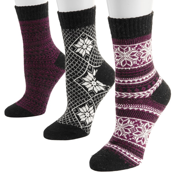 Muk Luks Women's Classic Holiday Crew Sock Pack (3 Pairs)
