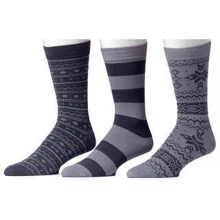 Muk Luks Men's Grey Group Patterned Socks (3 Pairs)