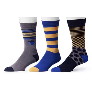 Muk Luks Men's Blue and Goldtone Patterned Socks (3 Pairs)