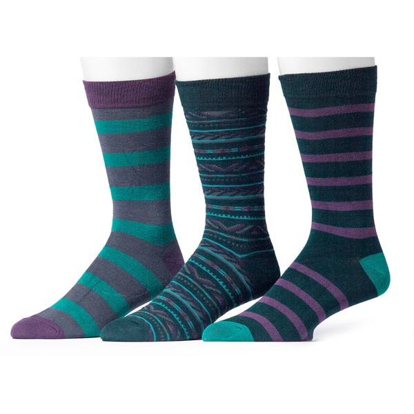 Muk Luks Men's Green and Purple Patterned Socks (3 Pairs)