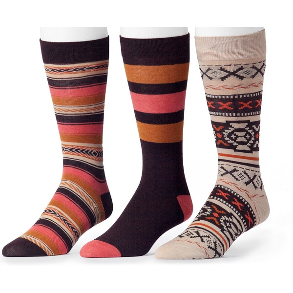 Muk Luks Men's Orange and Brown Patterned Socks (3 Pairs)