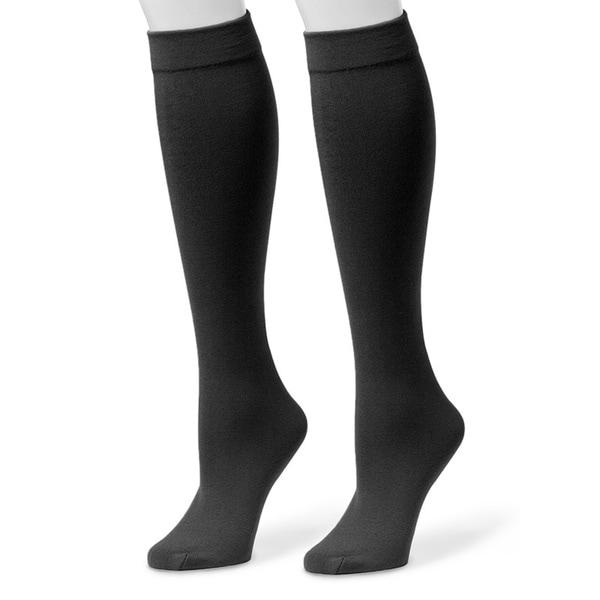 Muk Luks Women's Black Fleece-lined Knee-high Socks (2 Pairs)