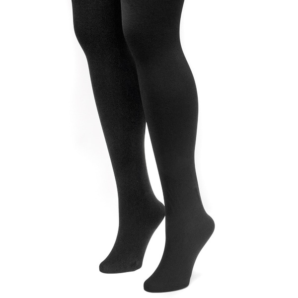 Muk Luks Women's Black Fleece Lined Tights (2 Pairs) 14295136