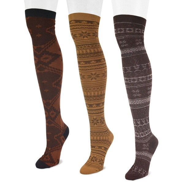 Muk Luks Women's Brown Microfiber Over-the-Knee Socks (3 Pairs)