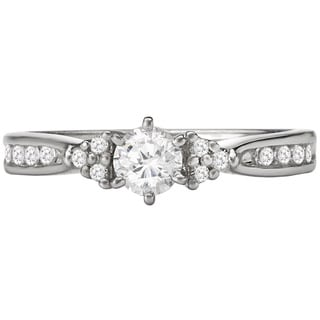 Avanti 14k White Gold 1/2ct TDW Diamond Engagement Ring with Cluster Accents (G-H, SI1-SI2)